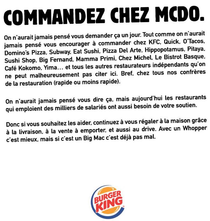 E-reputation BK invite à consommer McDo